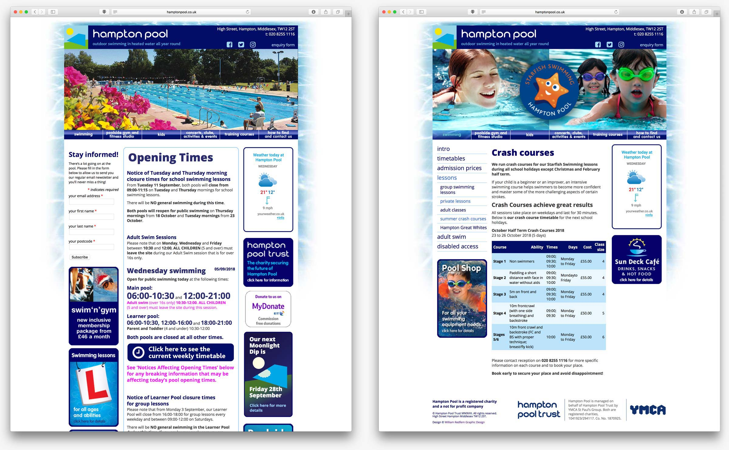 Hampton Pool website