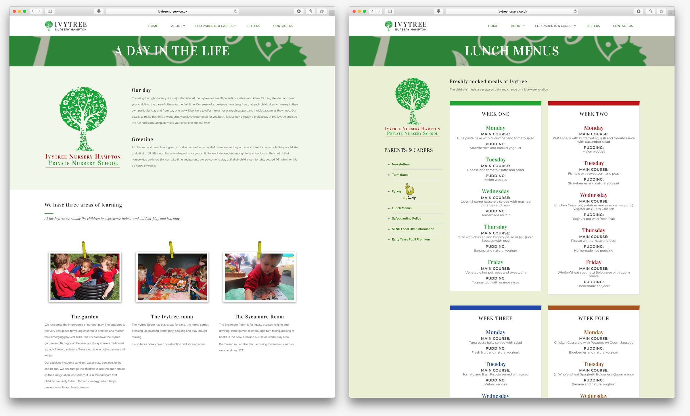 Ivytree Nursery website