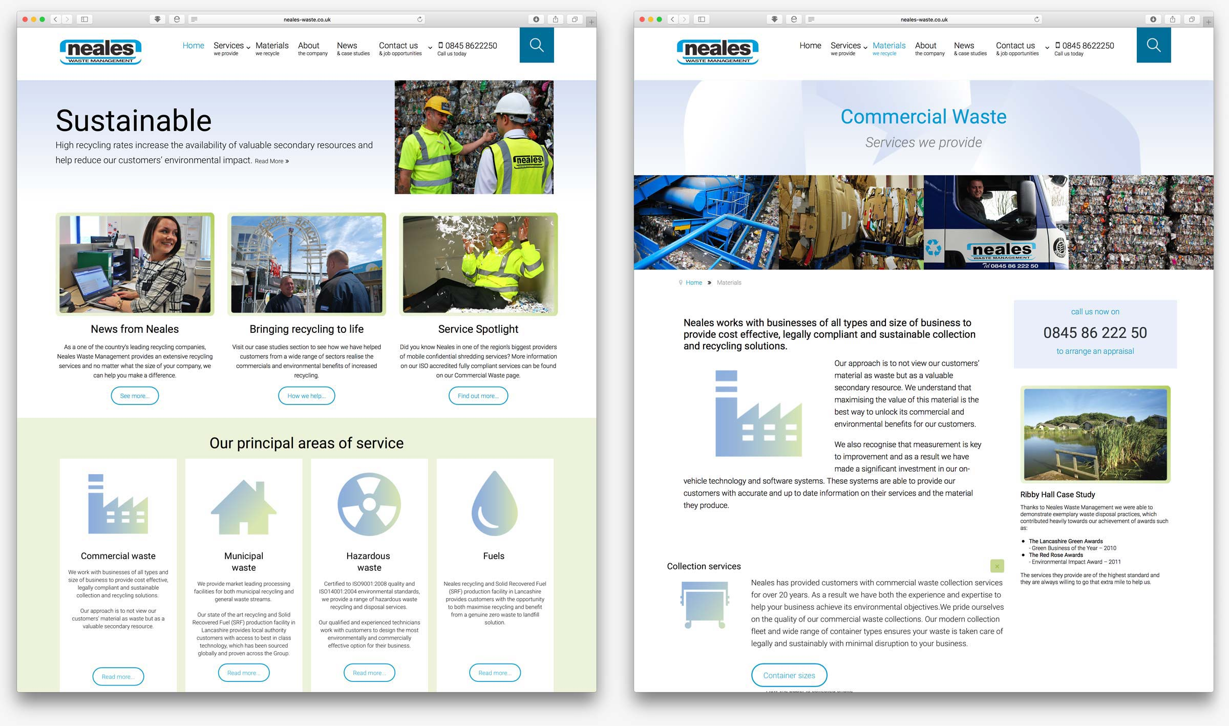 Neales Waste Management website