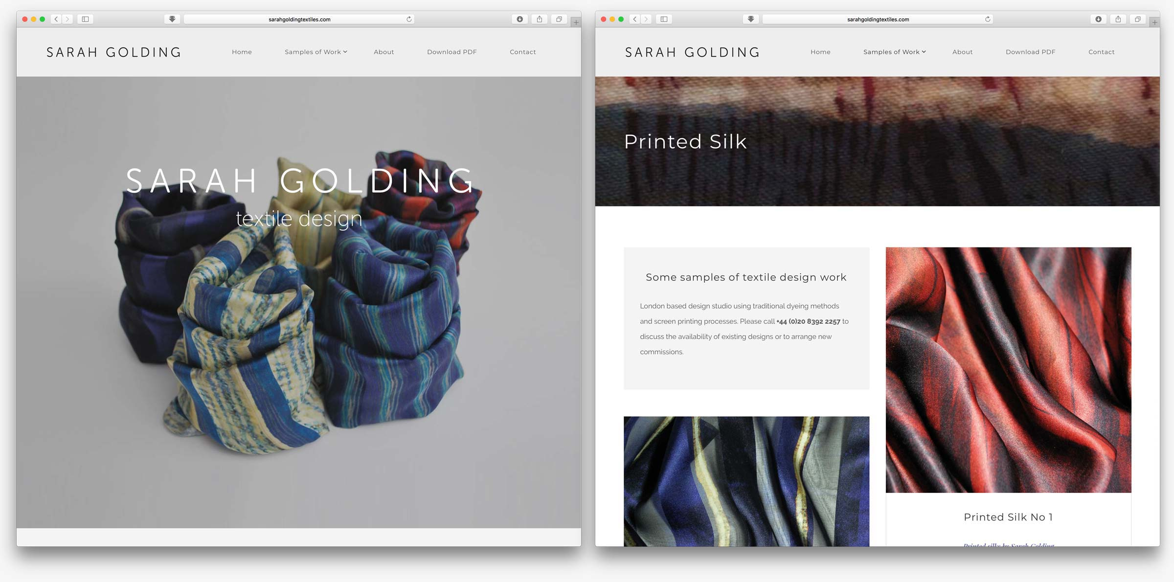 Sarah Golding Textile Design website