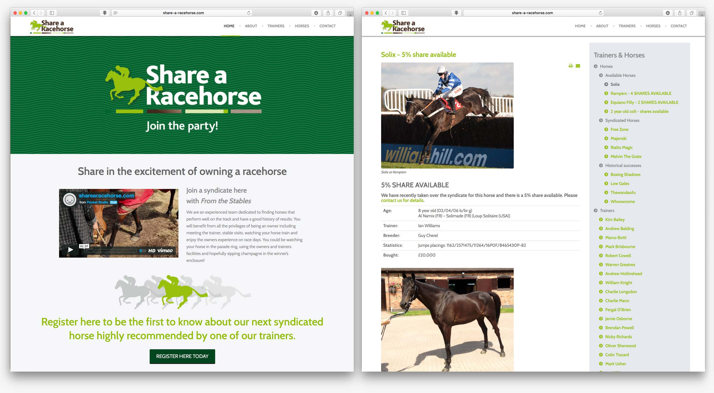 Share a Racehorse website