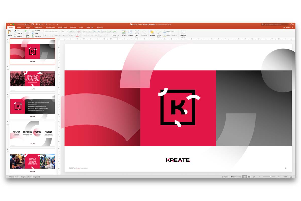 KREATE PowerPoint template and master presentation