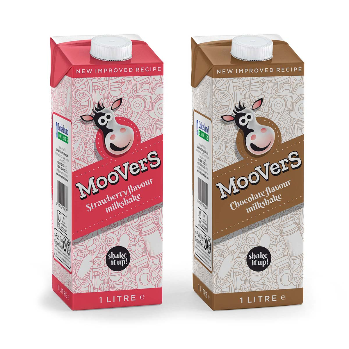 Moovers flavoured milk character and pack design